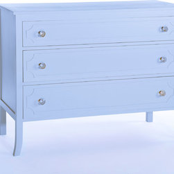 Chloe Dresser French Blue - We are please to announce our newest custom made item! These dressers are constructed and finished to order in a color of your choice. Call 401-516-7711 to order.