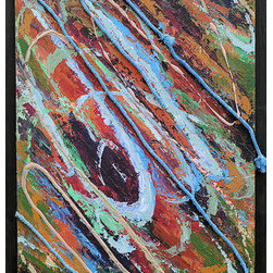 """Palette"" (Original) By Regina Davidson - This Original Painting By Regina Davidson Is A Mixed Media Abstract.  It Contains Rope, Acrylic Paints, And String Gel.  The Piece Was Inspired By The Colors Found On Her Artist Palette After Five Years Of Use With No Scraping Or Cleaning.  It Is Framed With Painted Poplar."