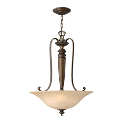 Hinkley Lighting - Dunhill Large 3-Light Dome Pendant - Royal Bronze finish with Vintage Alabaster Glass. The Dunhill collection features traditional European elements and resembles the turned legs of many pieces of classic antique furniture. 120 in. of chain and 144 in. of leadwire included for installation.