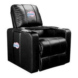 Dreamseat Inc. - Los Angeles Clippers NBA Home Theater Plus Leather Recliner - Check out this awesome Leather Recliner. Quite simply, it's one of the coolest things we've ever seen. This is unbelievably comfortable - once you're in it, you won't want to get up. Features a zip-in-zip-out logo panel embroidered with 70,000 stitches. Converts from a solid color to custom-logo furniture in seconds - perfect for a shared or multi-purpose room. Root for several teams? Simply swap the panels out when the seasons change. This is a true statement piece that is perfect for your Man Cave, Game Room, basement or garage. It combines contemporary design with the ultimate comfort from a fully reclining frame with lumbar and full leg support.