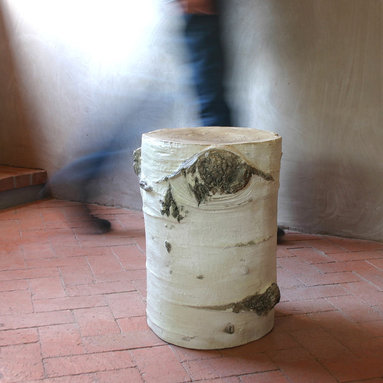 Aspen Stump Stool Table - Although this handsome little stool looks like it is created from a solid Aspen tree stump, it is actually handcrafted in fiberglass by an American artist. He first creates a cast of an actual stump and then applies fiberglass to the inside of the mold, creating a hollow, lightweight replica. The final step is hand painting the exterior to bring the details to life. The results are so accurate even someone with a discriminating eye will not be able to tell.
