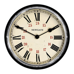 Newgate Clocks - Newgate Clocks Ticket Office Wall Clock - Newgate Clocks - This wooden wall clock is painted glossy black with a chrome plate bezel, glass lens and aged 24hr Roman numeral dial. Requires 1AA battery (not included.)