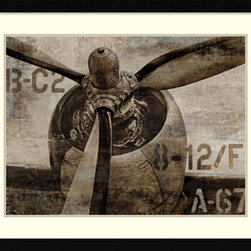 Amanti Art - Dylan Matthews 'Vintage Propeller' Framed Art Print 41 x 33-inch - A great match for the aviation buff, Vintage Propeller by Dylan Matthews captures the strong design of a classic aircraft propeller in bold browns and sepia.