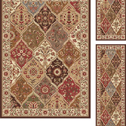 None - Multi Collection 3-piece Set of Area Rugs (1'8x2'8,1'8x5',5'x7') - These Multi collection rugs offer a contemporary,Traditional design that will add beauty to any decor. This set of three abstract rugs features colors of ivory,red,green and blue.