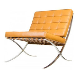 Serenity Living Stores - Barcelona Chair Reproduction - Aniline Leather, Caramel - The Barcelona Chair was initially designed by Mies Van Der Rohe & Lilly Reich during the middle of the 19th century. The main source of inspiration for our chair comes from the 1929 German Pavilion where Mies and Lilly Reich showcased a gorgeous chair now known worldwide as the Barcelona Chair.