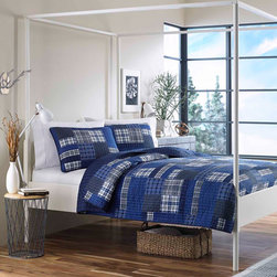 Eddie Bauer - Eddie Bauer Eastmont Cotton Reversible 3-piece Quilt Set - This dynamic blue and white plaid quilt from Eddie Bauer features a soft and comfortable 100-percent cotton cover and backing. With at least one included sham,the set is available in twin,full/queen and king quilt sizes.