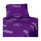 College Covers - Kansas State Wildcats Collegiate Purple 4pc King Bed Sheets - Features: