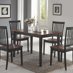 Coaster - Oakdale 5-Pc Casual Dining Set (Cappuccino) - Finish: CappuccinoIncludes table and four side chairs. Casual style. Rectangular shaped with straight edges. Chair with vertical slat back and contoured wooden seat. Sleek square tapered legs. Table: 47.25 in. L x 29.5 in. W x 30 in. H. Chair: 17.13 in. W x 20.25 in. D x 37.63 in. H. WarrantyThis 5-Pc dining set is sure to match your decor and fit your needs. Clean lines and simple style creates a timeless look that you will love, give you the warm and inviting casual dining room you have always wanted.