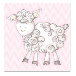 "Doodlefish - Shelby Sheep Pink - Shelby Sheep is an 18"" x 18"" Gallery Wrapped Giclee Print of a mix of graphical elements and a drawing of a fluffy sheep with a curly tail.  Choose the background color and the background pattern to match your child's room,  Add your child's name or even your favorite pet.  This artwork is also available mounted in a painted frame of your choice.    The finished size of the mounted piece is approximately 22""x22""."