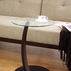 Coaster - Black Casual Accent Table - ACCENT TABLE WITH STURDY GLASS TABLE TOP AND CAPPUCCINO FINISHED BASE