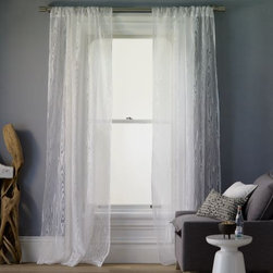 Faux Bois Burnout Window Panel - These sheer curtains from West Elm offer a very subtle, burnout faux bois pattern.