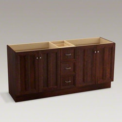 """KOHLER - KOHLER Damask(TM) 72"""" vanity with toe kick, 4 doors and 3 drawers, split top dra - Breathtaking design meets unrivaled craftsmanship in the KOHLER(R) Tailored vanity collection. No detail was overlooked in the meticulous crafting of this collection, from the premium hardwoods to the specially designed hardware and vanity tops, all avail"""