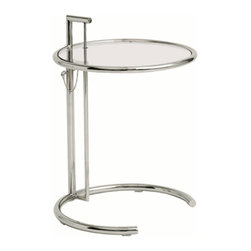 Lemoderno - Fine Mod Imports  Round End Side Table, Clear - The Round end table features a chrome steel tube, which is fully welded through the top bar and extends through it for exceptional durability and original detailing. This table also features tempered glass and adjustable height positions. Tempered Glass Top Minimal Assembly Required   Assembly Required