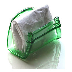 Rehabulous - Green Ball Mason Jar Napkin Holder - This handcrafted limited-edition item was kiln fired and reformed into a unique yet practical work of art.   3.5'' W x 4'' H x 4'' D Glass Made in the USA
