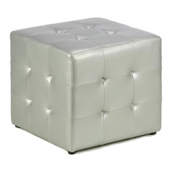 Cortesi Home - Silver Metallic Cube Ottoman - Add a little shine to any room with this silver cube ottoman. The metallic vinyl upholstery gives this ottoman a bold impression. At 16 inches high, it is the perfect height for a footrest, or you can use it as additional seating in a pinch.