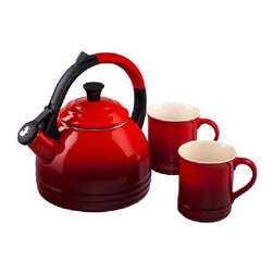 Le Creuset - Le Creuset 1.7 Qt. Peruh Kettle and Mug Set - Cherry - The Peruh Kettle's colorful anti-slip handle adds both style and convenience, while its single-handed pouring operation keeps hands away from steam when serving. Both the kettle and mugs feature Le Creuset's signature three-ring accent, and are a perfect set for gift-giving.