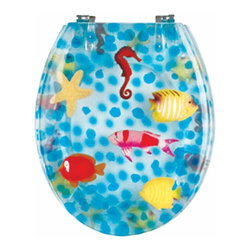 Renovators Supply - Toilet Seats Chrome Polymer Sea Horse Round Toilet Seat | 16955 - Sea Horse Toilet Seats: Made of High Grade Polymer this seat is designed for maximum strength and durability and does NOT yellow over time like most polymers. Clear polymer background with sea horse designs. Fits over standard size toilet bowls and comes in a variety of designs. Cast within the seat the stabilizing bumpers prevent rocking and keep the seat safely in place. Solid brass swivel hinges are easily adjustable 3 5/8 inch to 7 1/2 inch and easier to clean. Chrome-plating protects solid brass hinges from tarnishing for years to come. Seat measures: 15 13/16 inch x 14 9/16 inch Lid measures: 14 5/16 inch x 13 1/8 inch Round shape.