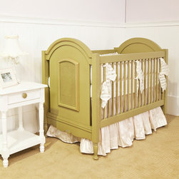 """Newport Cottages - Newport Cottages Celine Crib - Newport Cottages creates relaxing and happy nurseries and bedrooms with traditional, bench made furniture. The Celine crib adds a touch of sweet warmth to a little one's space. Featuring hand-turned legs, dual-level fixed gates, scalloped trim, lovely caning on the headboard and footboard and an optional bottom storage drawer, this hardwood furnishing comfortably lulls a baby to sleep. The cozy crib adjusts to three mattress heights and converts to a toddler bed with a guardrail kit. Shown in olive, this crib is available in several finishes with optional gold trim. Variance in color or texture is possible due to inherent qualities of handcrafted, hardwood furniture. Made in the USA and completed with non-toxic, low VOC finishes. Available with a standard or distressed finish. Distressing on stained finishes not recommended. 31""""W x 56""""D x 48""""H. Crib mattress not included. Mattress heights: 22"""", 18"""" and 14"""". Some assembly required*To further customize with additional finish and hardware options, please email shop@laylagrayce.com or call (877) 907-1322 for further details."""