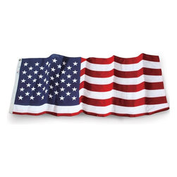 US Flag 10x15 Embroidered Polyester - Outdoor Polyester American Flag U.S. Flag Store's Embroidered Polyester 10' x 15' American Flags are made in the USA. Featuring densely embroidered stars and stitched stripes, these are traditional, quality American flags - they are not cheap imports or printed flags! These flags are made with 2-ply polyester which is the strongest flag material available. Since polyester flags are extremely durable, they are recommended for flying in parts of America with lots of rain and high wind. If you live in a milder part of America, U.S. Flag Store recommends flying a Nylon American Flag.