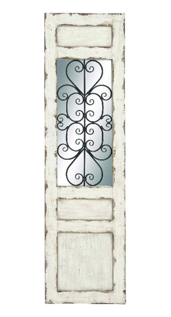 Benzara - Vintage Wood Wall Panel White Mirror Inlay Wrought Metal Decor - Vintage style wood wall panel in antiqued white finish with rectangular mirror inlay and wrought metal decor