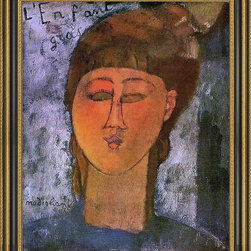 """Art MegaMart - Amedeo Modigliani The Fat Child - 16"""" x 20"""" Framed Premium Canvas Print - 16"""" x 20"""" Amedeo Modigliani The Fat Child framed premium canvas print reproduced to meet museum quality standards. Our Museum quality canvas prints are produced using high-precision print technology for a more accurate reproduction printed on high quality canvas with fade-resistant, archival inks. Our progressive business model allows us to offer works of art to you at the best wholesale pricing, significantly less than art gallery prices, affordable to all. This artwork is hand stretched onto wooden stretcher bars, then mounted into our 3 3/4"""" wide gold finish frame with black panel by one of our expert framers. Our framed canvas print comes with hardware, ready to hang on your wall.  We present a comprehensive collection of exceptional canvas art reproductions by Amedeo Modigliani."""