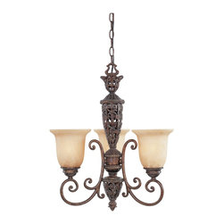 Designers Fountain - Designers Fountain Amherst Traditional Chandelier X-UB-38579 - This Designers Fountain chandelier features a beautiful and intricate design that draws the eye in. From the Amherst Collection, it comes finished in a beautiful Burnt Umber hue that highlights all the intricate details, such as the filigree work. Three beautiful antique harvest beige shades complete the look.