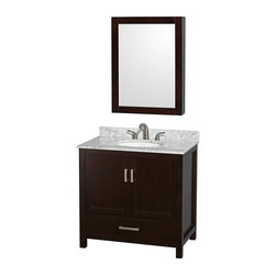 Wyndham Collection - Wyndham Collection WCS141436SES Sheffield 36-in. Single Bathroom Vanity Set with - Shop for Bathroom Cabinets from Hayneedle.com! You can be as traditional as a Doric column or as modern as a Noguchi coffee table and we still think you're going to like adding the Wyndham Collection WCS141436SES Sheffield 36-in. Single Bathroom Vanity Set with Medicine Cabinet - Espresso to your bathroom. With a full range of selections for the vanity top and undermount sink (or you can choose to have neither!) you'll be able to further customize this set to fit that very specific style of yours. The body of this charming vanity is formed from solid wood that undergoes a 12-step process that results in an environmentally friendly low-VOC painted finish that's highly moisture-resistant. A single deep drawer slides on fully extendable metal glides and sits beneath a large open storage compartment that's covered by a pair of double doors. Both the drawer and doors close on soft-close latches. A matching medicine cabinet sports a beveled mirror on the front and a pair of interior shelves for the practical convenience that you need in your washroom.Product Dimensions:Vanity dimensions with top: 36W x 22D x 35H in.Cabinet dimensions: 24W x 6.25D x 33H in. About the Wyndham CollectionWyndham and the Wyndham collection are all about refinement detailing uniqueness quality and longevity. They are dedicated to the quality of their products and own the factory where each piece is constructed. This allows Wyndham to offer products that reflect the rigorous quality standards required for every piece that is offered to their customers. The Wyndham collection showcases elegant modern design styles that highlight functionality and style in every detail.