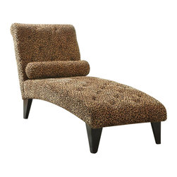Coaster - Coaster Leopard Print Living Room Armless Chaise in Black - Coaster - Chaise Lounges - 902076 - Liven up the look of nearly any living room with this stylish leopard print chaise. Designed to complement an assortment of styles this decorative accent furniture piece will bring traditional elegance to a casual setting or sleek styled lines to an olden-day look. Deep tufted seat and back cushions provide support as homeowners lay down for relaxing comfort. A slightly rounded back and tapered wood feet provide sophisticated accents to the frame of the piece while an included throw pillow completes the ensemble. Complementing traditional transitional classic contemporary and casual styled homes this chaise makes a stunning accent to living rooms family rooms bedrooms and dens.
