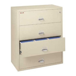 """FireKing - 44"""" W Four-Drawer Lateral File - This lateral file adds protection to any office. For a modest one-time investment, you'll rest easier knowing that this popular file is protecting your business. Choose from nine colors to match your office dcor perfectly. Keep your records safe and on-hand with UL class 350 1-hour fire protection. This file is surely the style you want and the peace of mind you need. Note: When ordering multiple key lock files, please specify if you would like them all to use the same key. Features: -Two-position drawer catch allows access to certain drawers while others remain locked. -Fireproof insulation is 100% gypsum, reinforced by a 1"""" x 2"""" lattice made of 14-gauge, galvanized welded-steel wire, providing complete peace of mind from fire, impact or explosion. -Insulation between all drawers makes each one a separate insulated container. -Field-replaceable steel panels allow for easy replacement of damaged panels. -Drawer pulls are surface-mounted to allow for extra insulation inside the drawer heads. -Finish is both environmentally friendly and scratch-resistant, providing a lifetime quality appearance. -Drawer bodies are fully equipped to handle both letter and legal hanging files; no additional frames are required. -Drawer heads are formed of welded steel and filled with fireproof gypsum insulation. -Drawer suspensions are maintenance-free and guaranteed for life.Specifications: -Drawer dimensions: 10.75"""" H x 38.91"""" W x 15.13"""" D. -Overall dimensions: 52.75"""" H x 44.5"""" W x 22.13"""" D. Lock Options: . -Standard drawer locks provide general locking of all drawers through key locks. -Optional UL-Listed combination lock. -Optional UL-Listed manipulation-proof combination lock with special high-security locking devices furnished in lieu of standard drawer catches on the side of drawers. -Optional UL-Listed electronic lock features an electronic lock's master code, such that you can easily control who has access by adding, deleting, or chan"""