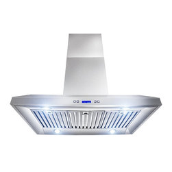 AKDY - AKDY AK-Z10A5-IS-36 Euro Stainless Steel Island Mount Range Hood - AKDY 10A5 sleek, flat design adds a clean, modern style to your kitchen. Keep your kitchen fresh and clear from smoke, grease, moisture, and odors with this highly styled, Italian designed island mounted range hood. Multi-Function electronic controls provide easy function and added style.
