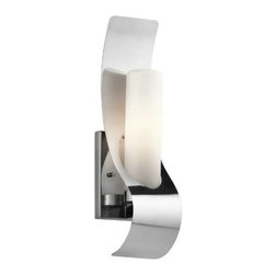 Kichler - Kichler 49149PSS316 Zolder 1 Light Halogen Outdoor Wall Sconce in Polished Stain - Single bulb outdoor wall sconces add a touch of elegance to any landscape Housing is constructed of metal - providing years of reliable performance Fully covered under Kichler's 1-year limited warranty Features cylinder shaped glass shade Pair this sconce with a variety of post lights from the Zolder Collection for a coordinated landscape Ultra secure mounting assemblyBulb Type: Incandescent Bulbs Included: Yes Collection: Zolder Country of Origin: China Energy Efficient: No Extends: 4-1 2 Finish: Polished Stainless Steel Height: 17 Light Direction: Ambient Lighting Number of Lights: 1 Shade Color: White Shade Material: Glass Shade Shape: Cylinder Shade Type: Etched Socket Type: Candelabra Style: Contemporary Wattage: 60 Weight: 2.33 Width: 4-1 2