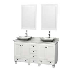"Wyndham Collection - 60"" Acclaim White Double Vanity w/ White Carrera Top & White Carrera Marble Sink - Sublimely linking traditional and modern design aesthetics, and part of the exclusive Wyndham Collection Designer Series by Christopher Grubb, the Acclaim Vanity is at home in almost every bathroom decor. This solid oak vanity blends the simple lines of traditional design with modern elements like beautiful overmount sinks and brushed chrome hardware, resulting in a timeless piece of bathroom furniture. The Acclaim comes with a White Carrera or Ivory marble counter, a choice of sinks, and matching mirrors. Featuring soft close door hinges and drawer glides, you'll never hear a noisy door again! Meticulously finished with brushed chrome hardware, the attention to detail on this beautiful vanity is second to none and is sure to be envy of your friends and neighbors"