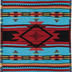 Manual - Blue Bright Flame Southwestern Print Tapestry Throw Blanket 50 Inch x 60 Inch - This multicolored woven tapestry throw blanket is a wonderful addition to your home or cabin. Made of chenille, the blanket measures 50 inches wide, 60 inches long, and has approximately 1 1/2 inches of fringe around the border. The blanket features a blue, dark red and goldenrod Southwestern print. Care instructions are to machine wash in cold water on a delicate cycle, tumble dry on low heat, wash with dark colors separately, and do not bleach. This comfy blanket makes a great housewarming gift that is sure to be loved.