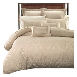Bed Linens - Sara 7PC Duvet Covers Set by Royal Hotel Collection, King/California King - The duvet cover set is completed with coordinated Two Pillow shams, Two European shams & Two Decorative cushions. The over all look is one of the simplicity and elegance that will be enjoyed for years to come. The Front is made of 100% Polyester Jacquard and the Back is Made of Cotton rich ( 50% cotton 50% Polyester).