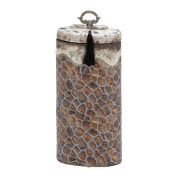 Benzara - Ceramic Jar with Perfect Lid and Metal Handle - Ceramic Jar with Perfect Lid and Metal Handle. Flaunting a rich look and nicely designed, this ceramic jar will enhance the ambience and recreate an artistic look to the surroundings.