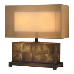 Fine Art Lamps - Quadralli Table Lamp, 330310ST - When you continually see cookie-cutter lamps in other people's homes, take comfort that this one is no chip off that old block. Its gauzy box-inside-a-box shade diffuses light and adds a golden glow while mimicking the chunky base. It would make a beautiful, welcoming addition to your entryway console.