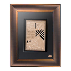 """Vahaz Gold Art & Gifts - Lords Prayer , Copper Frame - The Lords' Prayer is one of the worlds most said prayers. In this masterpiece Vahaz portrays, on a mountain top sits Jesus, his staff in hand and a few lambs rest near by while the sun shines down on him. All elegantly finished in 24k gold. The Lord's Prayer reads. """"Our father, who art in heaven, Hallowed by thy Name. Thy kingdom come. Thy will be done, On Earth as it is in heaven. Give this day our daily bread. And forgive our trespasses, As we forgive those who trespass against us. And lead us not into temptation. But deliver us from evil. For thine s the kingdom, and the power, and the glory, for ever and ever. Amen."""" This wall art is professionally framed, it will be mounted on your choice of black or white suede matte board, and will be shipped ready to hang."""