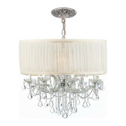 Crystorama - Crystorama Brentwood Chandelier X-MLC-WAS-HC-9844 - This isn't your Grandmother's crystal. The Brentwood Collection from Crystorama offers a nice mix of traditional lighting designs with large tailored encompassing shades. Adding either the Harvest Gold or the Antique White shade to these best selling skus opens the door to possibilities for these designer friendly chandeliers. The Brentwood Collection has a touch of design flair that will work for your traditional or transitional home.