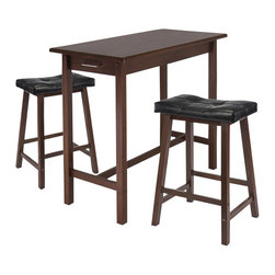 Winsome - Winsome 3 Piece Rectangular Dining Set in Antique Walnut Finish - Winsome - Dinette Sets - 94304 - Enhance your kitchen with this Breakfast Table and Cushion Stools.