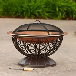 RST Outdoor Copper Fire Bowl with Cover - Warm your outdoor space with the glow of the RST Outdoor Copper Fire Bowl with Cover. Constructed from heat-resilient metal materials, this fire pit is a smart and easy way to spend your entire summer outdoors. The 35-inch diameter copper bowl seems to levitate over the ornate metal frame making this piece a stunning focal point in any patio, deck or garden.When the wood is reduced to coals and glowing red, your family and friends will be protected from that stray ember by the metal mesh, dome-shaped, cover that sits tastefully atop the copper bowl. This tasteful blend of form and function enlivens any space with modern charm and the familiar warmth of summer's passed.About Red Star TradersSince 2004, Red Star Traders LLC (made up of RST Outdoor, RST Living and FlowWall System) has designed and manufactured products in the outdoor living, home decor and wall-based organizational products categories. Red Star is a direct import, product marketing company. Red Star categories of focus include jewelry boxes, men's gifts & furnishings, and RTA furniture. Their team of marketing and design professionals can help identify market trends and deliver products that meet target retails with maximum perceived value. Red Star's network of manufacturing partners and overseas production managers insure integrity in production and strict quality control.
