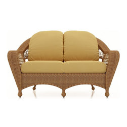 Forever Patio - Catalina Wicker Outdoor Loveseat, Straw Wicker, Wheat Cushions - The Forever Patio Catalina Outdoor Loveseat in Straw Wicker with Gold Sunbrella® Cushions (SKU FP-CAT-LS-ST-CW) features a deep-seated design and sweeping curves, making it both incredibly comfortable and stylish. The UV-protected, straw-colored wicker incorporates subtle shifts in tones, providing a look that is complex and beautiful. This loveseat includes fade- and mildew-resistant Sunbrella® cushions.