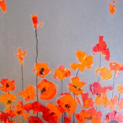"""Orange Cali Beauties"" (Original) By Devika Keskar - Poppies Are One Of My Favorite Subjects To Paint!  I Have The Privilege Of Being Able To Sit In My Sunny Studio And Look Out Into My Backyard And Paint These Beauties While They Sway Every Year In Little Patches Between My Larger Trees And Shrubs."