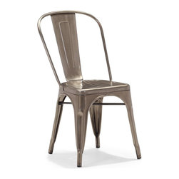 Zuo Modern - Zuo Modern Elio Modern Dining Chair (Pack of 2) X-041801 - As seen in many bistros across France, the Eilo dining chair is a classic piece used for generations. The chair is electrical plated.