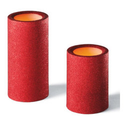 "Grandin Road - Battery Operated Red Glitter Candles - 4""H - Crafted from real white wax, cloaked in generous amounts of glitter for an added touch of ghoulish glamour. Since our candles are battery operated, they provide all the eerie ambience you would expect, without the worry of an open flame. Candles require two AA batteries each (not included). Enlighten your lair with the frightful flicker from our Battery-operated Red Glitter Candles, and cause a Halloween scene that really sparkles.  .  .  ."