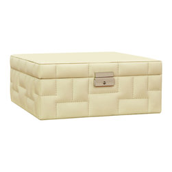 Quilted Storage Box - Beige Leather - 10.25 x 10.25 - Soft padded upholstery of beige leather gives visual and tactile depth to the Quilted Storage Box for a lush, indulgent look in neutral tones. The interesting pattern of stitched squares alternates in direction, balancing the metallic latch of this lidded box. Ideal for the desk, the bookshelf, and the bedside, this chic transitional box stows a stash of necessities within a cloud-soft case.