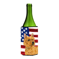 Caroline's Treasures - USA American Flag with Norwich Terrier Wine Bottle Koozie Hugger - USA American Flag with Norwich Terrier Wine Bottle Koozie Hugger Fits 750 ml. wine or other beverage bottles. Fits 24 oz. cans or pint bottles. Great collapsible koozie for large cans of beer, Energy Drinks or large Iced Tea beverages. Great to keep track of your beverage and add a bit of flair to a gathering. Wash the hugger in your washing machine. Design will not come off.