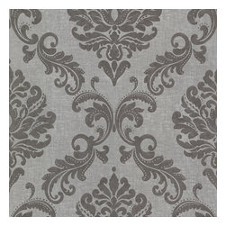 Sebastion Grey Damask Wallpaper. - The ultimate in sophistication, this wallpaper contrasts grey linen with resplendent silver. The result is refined glamour, where todays fashion nods to vintage royalty.