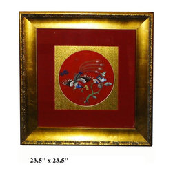 Framed Chinese Embroidery Flower Phoenix Wall Decor - he center vintage hand cross pattern hand embroidery of oriental flower and phoenix is reframed with red & golden base color. It adds a touch of oriental accent to the room quietly.