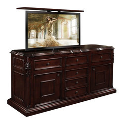"""Cabinet Tronix - TV Lift Cabinet, Scarlet, Made in USA, Mahogany Finish, 360 Manual Swivel - Scarlet TV Lift Cabinet with 360 manual swivel to fit up to some 60"""" flat screen TV's.  Belvedere finish."""