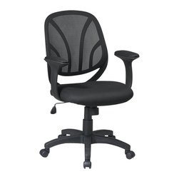 Office Star - Office Star Screen Back Mesh Seat Managers Chair with Padded Arms - Office Star - Office Chairs - EM205223